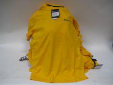 Box containing 65 Champion yellow T-shirts sizes predominately small