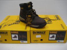 Pair of Dewalt industrial toe protector boots in dark brown size 8
