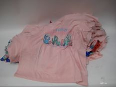 Bag of 30 Jessica Simpson pink V-neck T-shirts with a Californian motif sizes M - XL