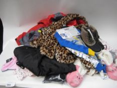 Bag containing childrens clothing to include 2 piece pyjama sets, animal print furry jackets,