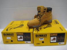 Two pairs of Dewalt industrial toe protector boots in tan size 8 & 11