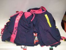 Box containing 70 Fila ladies mesh overlay tank tops sizes S-XL in blue and pink