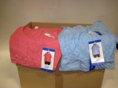 Box of approximately 50 Jack New York pink and light blue cotton blouses sizes M - XL