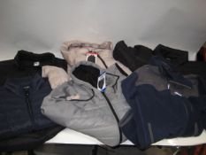 Bag containing 5 quilted jackets / gilets both mens and ladies together with a part fleece