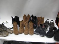 Bag containing unboxed ladies and gents shoes and one pair of slippers, various makes and designs to