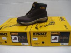 Two pairs of Dewalt industrial toe protector boots dark brown sizes 7 & 8