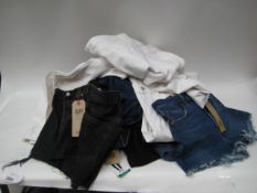 Bag containing approximately 15 pairs of ladies jeans and jean shorts by Levi, Jessica Simpson,