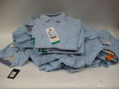 Bag containing 18 Weatherproof gents shirts in light blue with palm tree decoration - sizes mainly