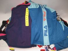 Box of 70 Fila ladies mesh overlay tank tops sizes S - L - various colours both pink & blue, light