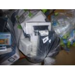 Bag containing timer switches, switch boxes, extension cables, sockets, etc