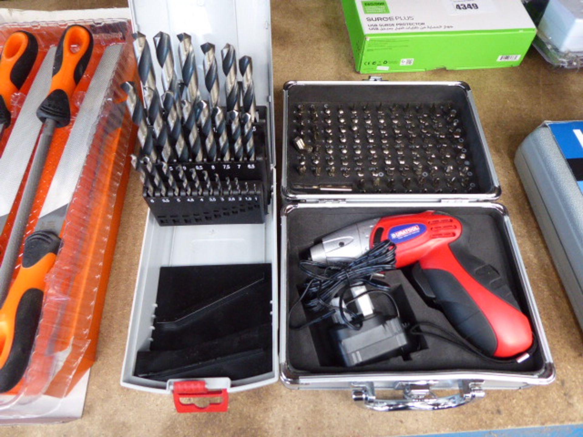 Duratool cordless mini screwdriver and a drill bit set