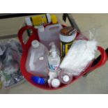 4322 - Red plastic bucket containing hand wipes, hand sanitizer, gloves, wonder wipes, etc
