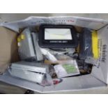 Box containing junction boxes, LED lights, remote boxes, switches, etc