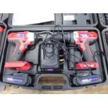 Duratool 18v drill and impact drive set with 2 batteries and charger