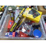 Plastic box containing mini screwdriver sets, mini soldering station, clamp-on adaptors,
