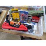 Plastic box containing digital multimeter, clamp-on adaptor, ladder bars, RCD adaptor, security