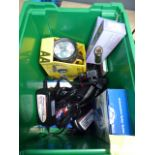 Green plastic box containing torches, intelligent battery chargers, relay tester, etc