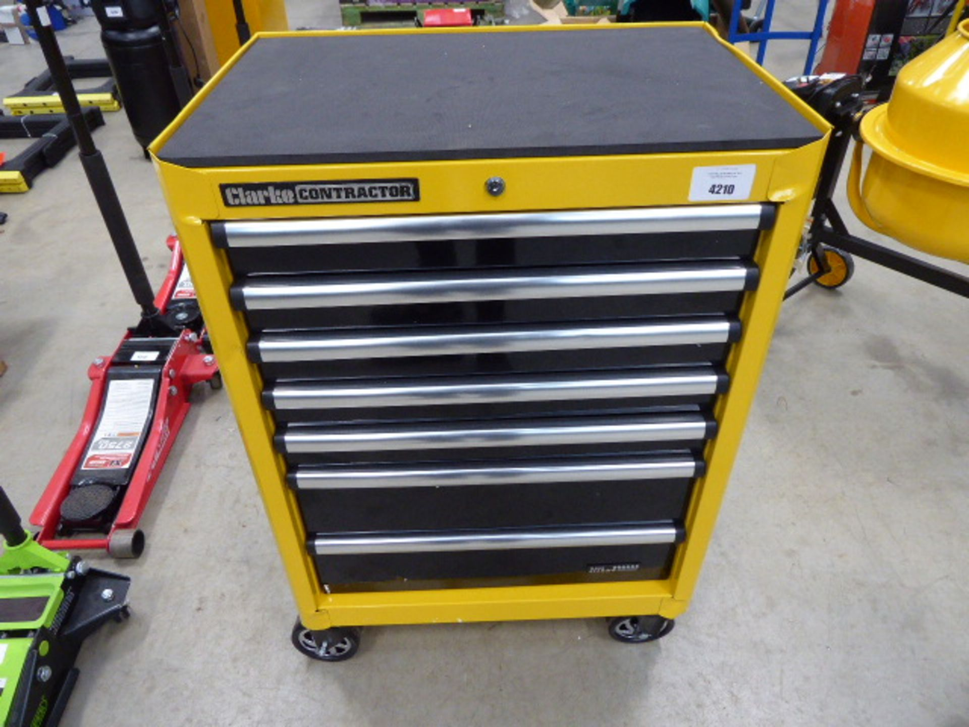 Clarke Contractor yellow wheeled multidrawer toolbox with key