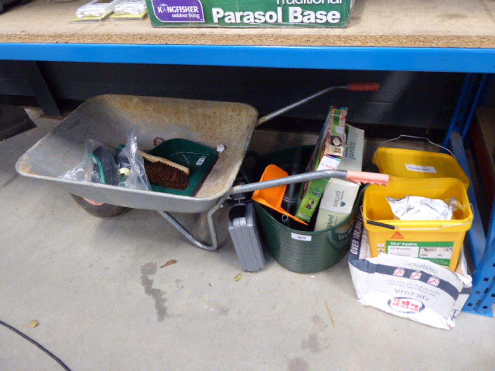 All weather self setting paving compound, paraffin heater, green trug, wheelbarrow, brushers,