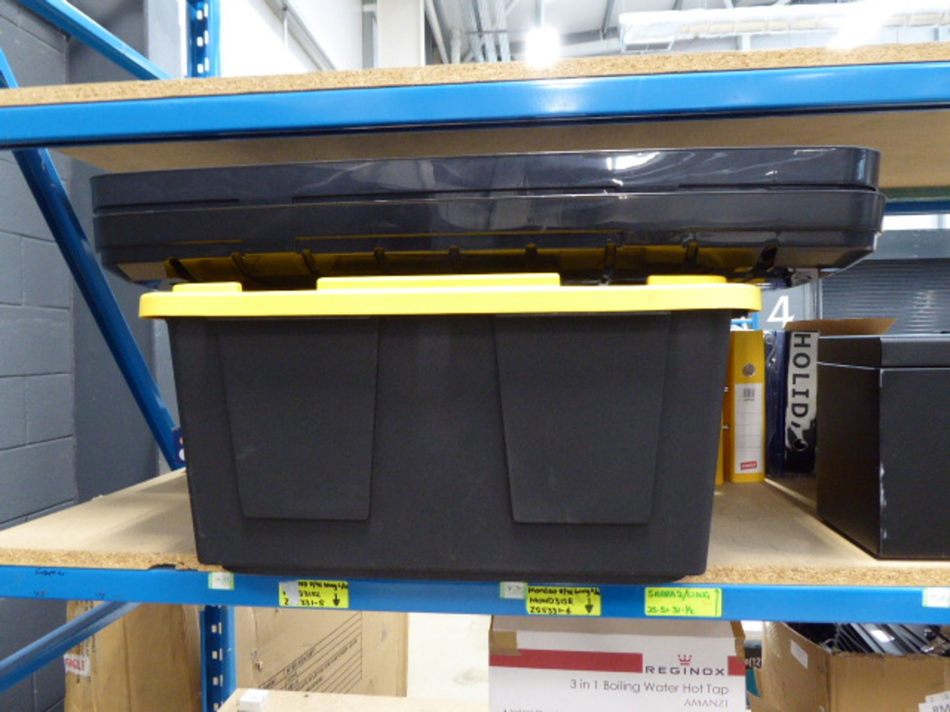 Shelf of assorted storage boxes - Image 4 of 4