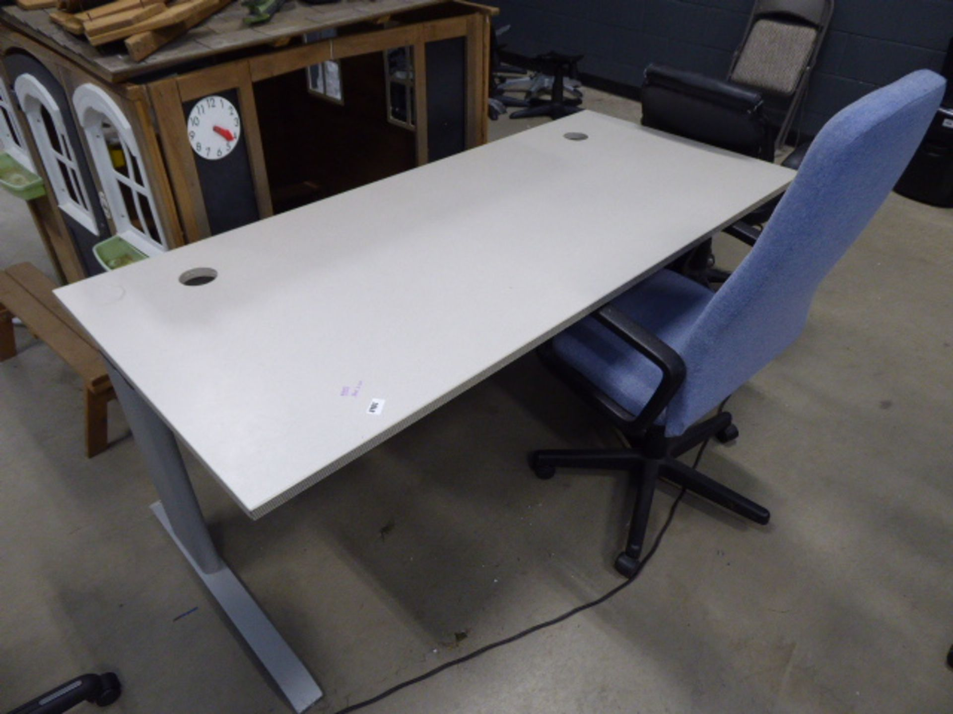 4206 - Cream straight fronted office desk with blue cloth chair