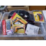 Plastic crate containing digital multimeter, infrared thermometers, mini screwdrivers, castors,