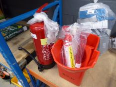 Fire extinguisher, hand foam and a mop bucket