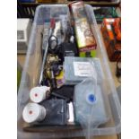 Large plastic box containing Ryobi bag, screws, blades, solder paste, soldering iron and other tools