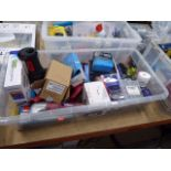Large plastic box containing security bit sets, torches, smoke alarms, batteries, etc