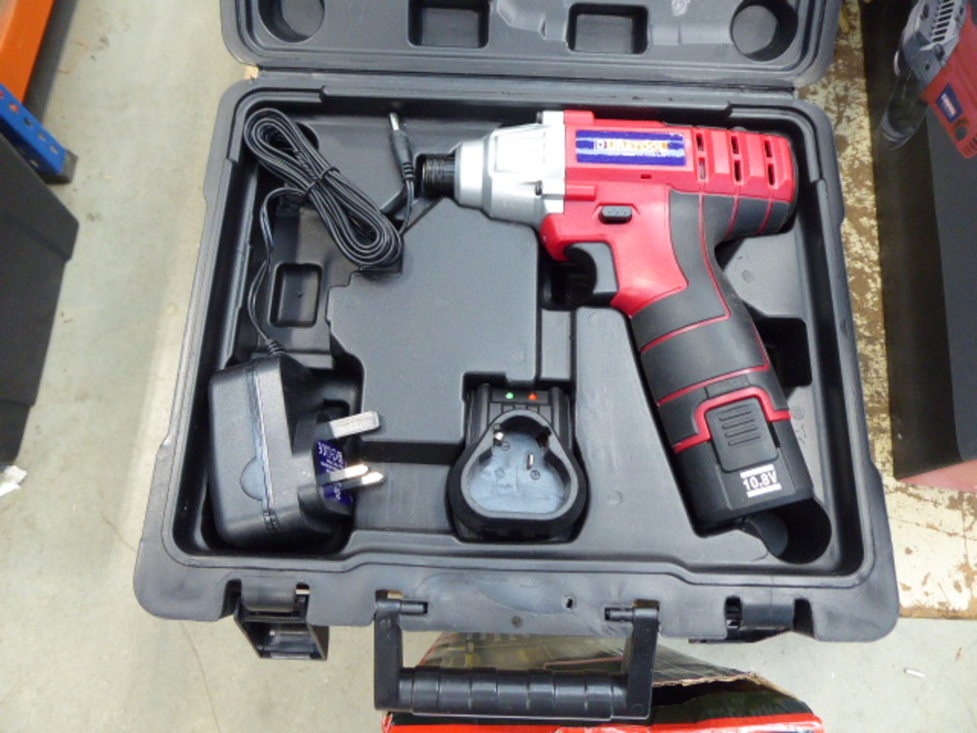 10.8v impact drill with one battery and charger