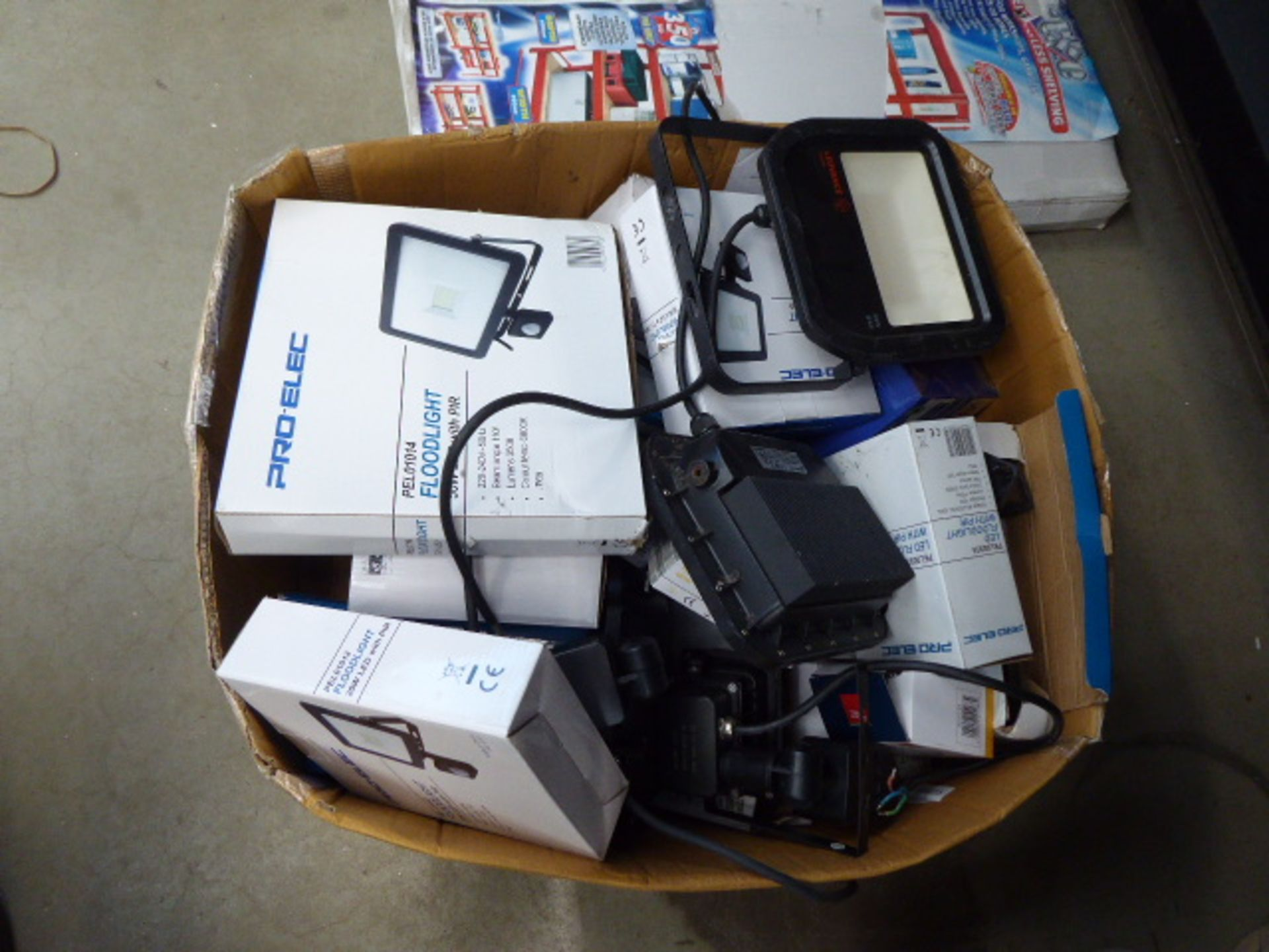 Large box of LED floodlights