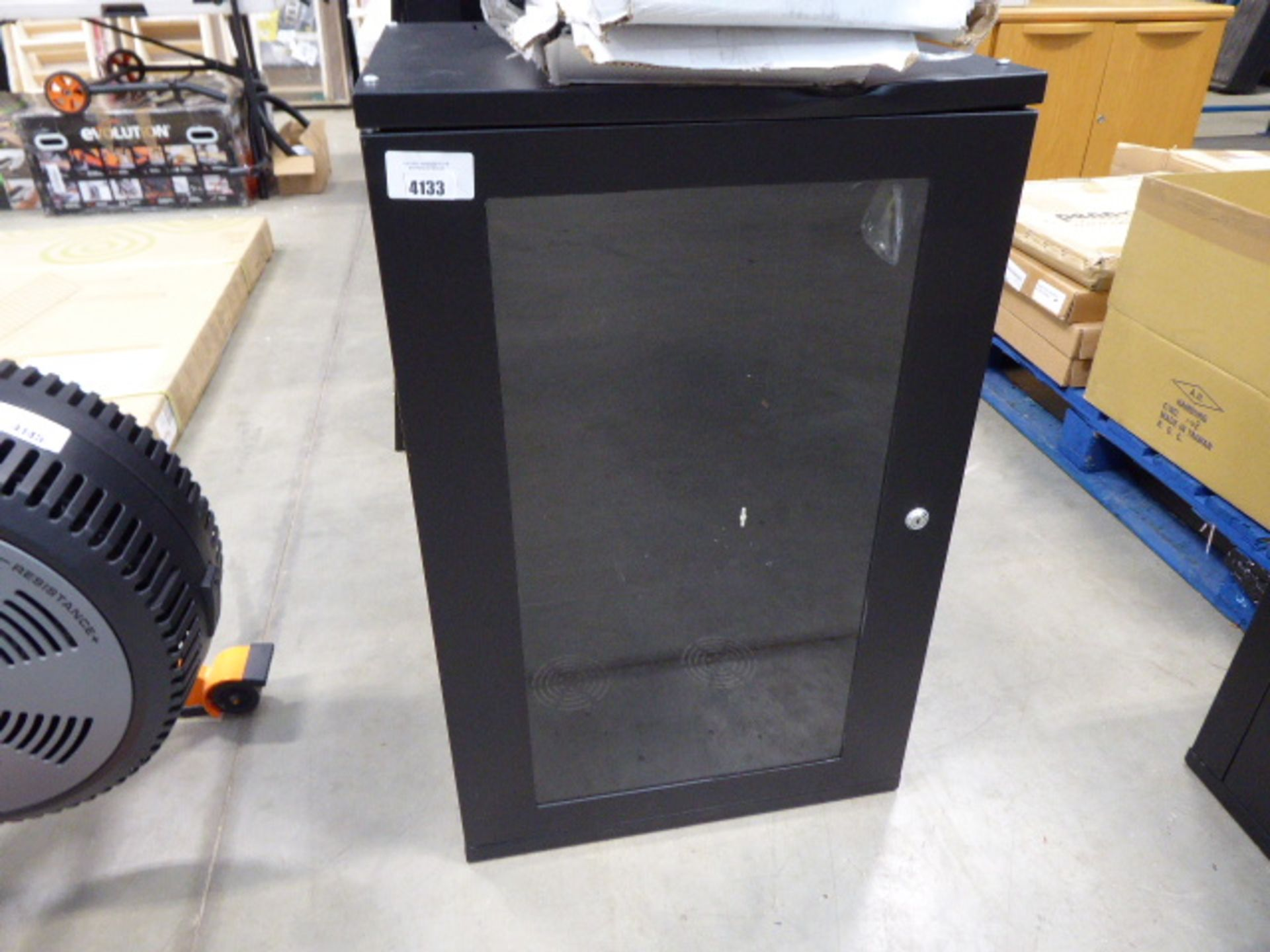 Large comms cabinet with boxed shelves