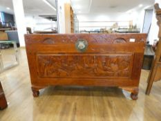 A late 20th century Oriental camphor-type trunk decorated with sailing vessels, w. 101 cm