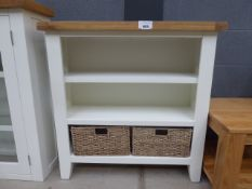 5107 Suffolk White Painted Oak Small Wide Bookcase (26)