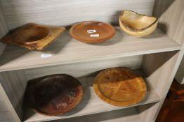 5 various wooden bowls