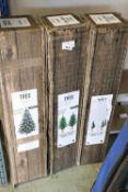 (1018) 3 boxed Christmas trees