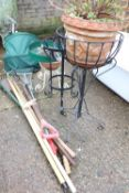 (1140) 3 wrought iron plant stands and quantity of garden tools