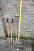 Pair of edging shears, shovel and rake