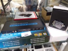 HDMI matrix four in, two out system, together with various extender and splitter equipment