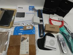 Bag containing remote controls, Sony speakers, Biling aerial, tablet cases, mouse mat, etc