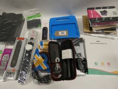 Bag containing tablet cases/covers, wireless microphone, multi-sockets, remotes etc