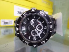 Gents Chronograph oversized Invicta wristwatch with rubberised strap (no box)