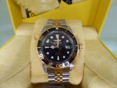 Gents Invicta stainless steep strap automatic wristwatch with box
