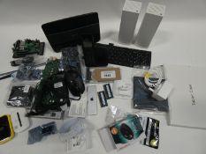 Bag containing network adaptors, Logitech G502 mouse, Apple TV remote A1926, etc.