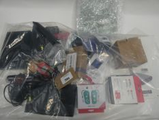 Bag containing quantity of electrical related devices and parts; USB desk lamp, power bank,