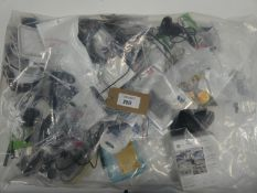 Bag containing quantity of mobile phone acccessories; leads, adapters, earphones etc