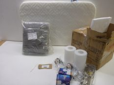 2 boxes of 2 Boutique lamps, cot mattress and Bale of 6 towels in grey