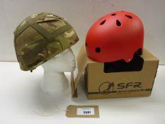 SRF Essentials skate helmet and British Army combat helmet