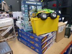 3 gun sets, plus a small box containing: Lego, Power Man Robot, model car etc