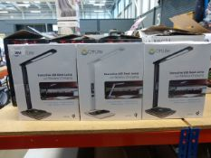 3 boxed Ott lit desk lamps, plus 1 unboxed